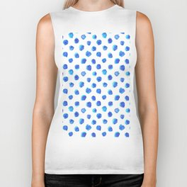 Watercolor Tie Dye Dots in Indigo Blue Biker Tank