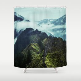 Forest Mountains Blue Sky Shower Curtain