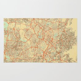 Kuala Lumpur Map Retro Rug