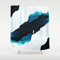 teal Shower Curtains featuring Teal Isolation by Stoian Hitrov - Sto