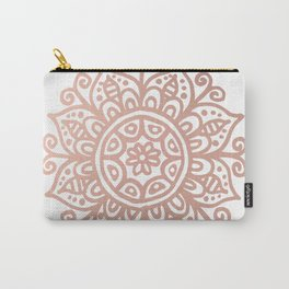 Rose Gold Floral Mandala Carry-All Pouch