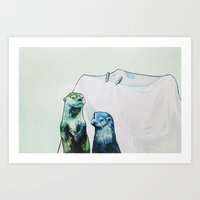otters Art Prints featuring Otters' Endeavors by Sarah Bear