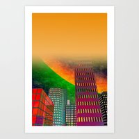 digicity orange curtain Art Print