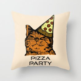 Pizza Party Cat: Funny Animal Kitty Throw Pillow