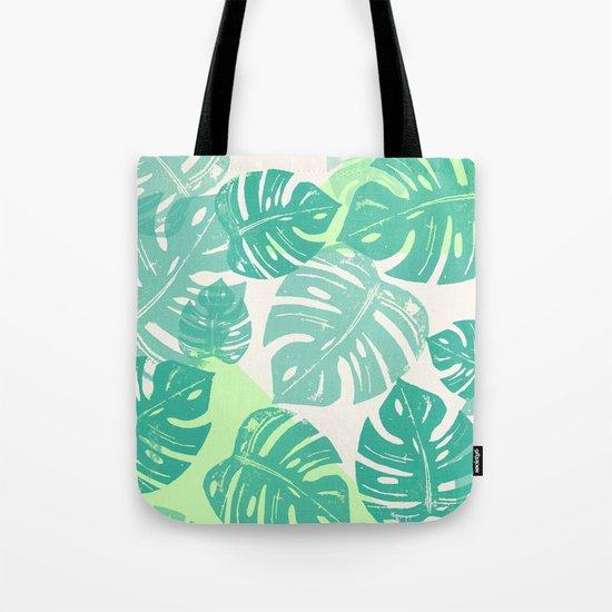 Linocut Monstera Green Tote Bag