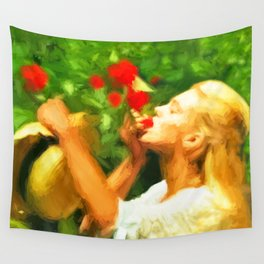Lady eating wild strawberries Wall Tapestry