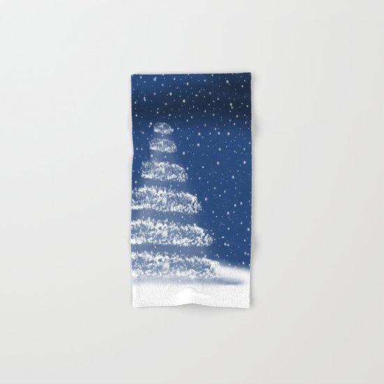 Snowy Blue Night Hand & Bath Towel