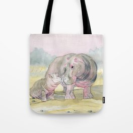 Colorful Mom and Baby Hippo Tote Bag
