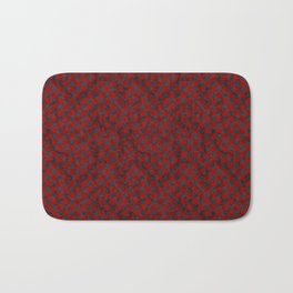 Retro Check Grunge Material Red Black Bath Mat