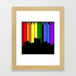 Indianapolis Indiana Gay Pride Rainbow Skyline Framed Art Print