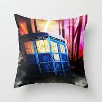 dr who Throw Pillows featuring dr who by shannon's art space