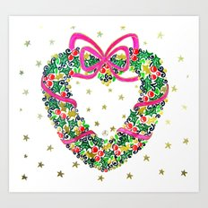 Xmas Heart Wreath Art Print