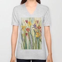 Spring Medley Flowers Unisex V-Neck