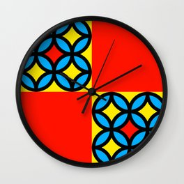 Colored Circles Red Squares Wall Clock
