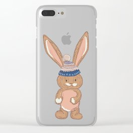 Cute bunny in winter hat Clear iPhone Case