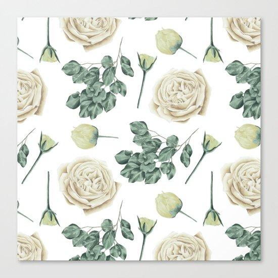 Flower Shop Ivory Cream Roses Pattern Canvas Print