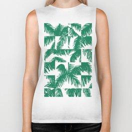 Palm Leaf Pattern Green Biker Tank