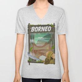 Borneo Jungle poster. Unisex V-Neck
