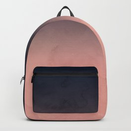 Modern abstract dark navy blue peach watercolor ombre gradient Backpack