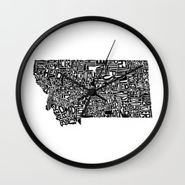 Typographic Montana Wall Clock