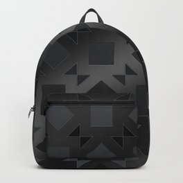 Pattern of squares and diamonds in black gradient Backpack