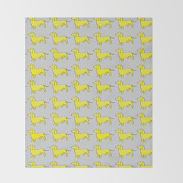 Doxie Love - Grey and Yellow Throw Blanket