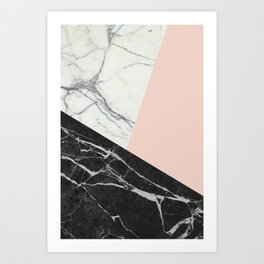 Black and White Marble with Pantone Pale Dogwood Art Print