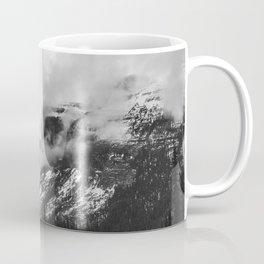 Smokey Mountains Maligne Lake Landscape Photography Black and White by Magda Opoka Coffee Mug