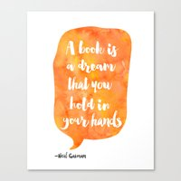 neil gaiman Canvas Prints featuring Mango, Neil Gaiman, quotes, inspirational art, bookish by Good vibes and coffee