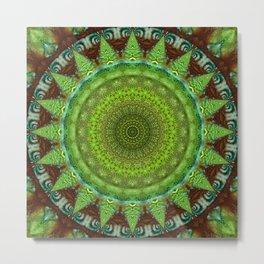 Mandala green Star Metal Print
