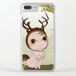 Deery Fairy under Autumn Leaves Clear iPhone Case