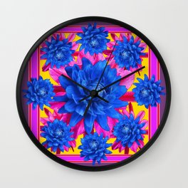 Decorative Puce Fuchsia Color Blue Tropical Flowers Pattern Wall Clock