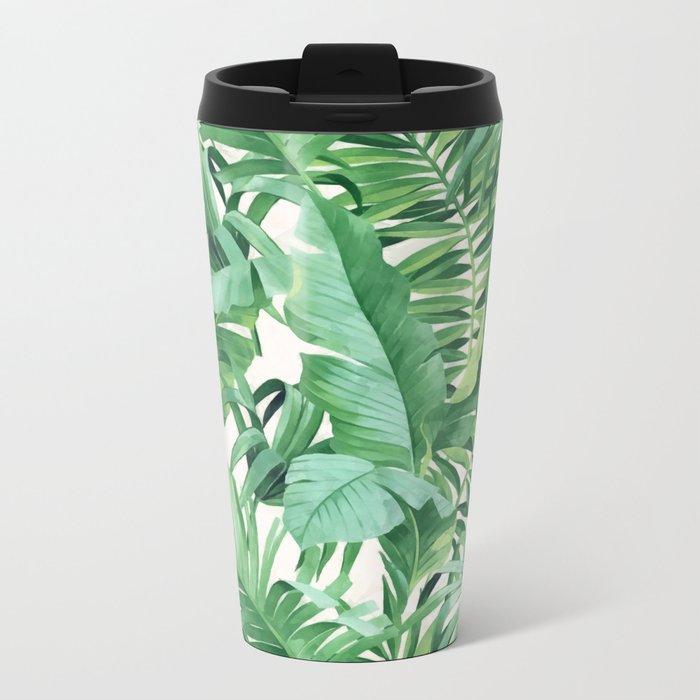 Green tropical leaves III Metal Travel Mug