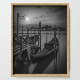 VENICE Gondolas during sunrise in black and white Serving Tray