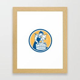 Housewife Washing Laundry Vintage Circle Framed Art Print