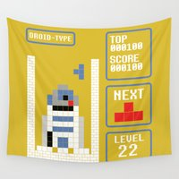 tetris Wall Tapestries featuring TETRIS: Droid Type by Josh Ln