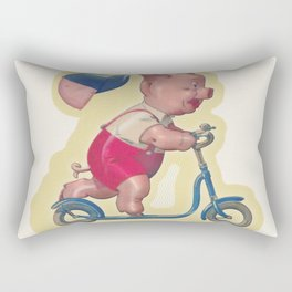 Cerdito en patinete Rectangular Pillow