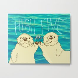 High Five / Sea Otters Metal Print