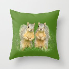 Squirrels-Brothers Throw Pillow