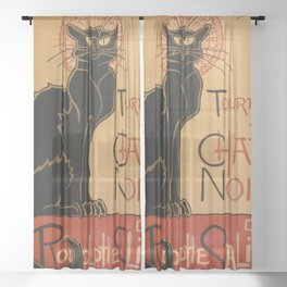 Le Chat Noir The Black Cat Poster by Théophile Steinlen Sheer Curtain