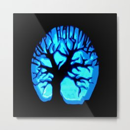 Happy HaLLoWeen Brain Tree Blue Metal Print
