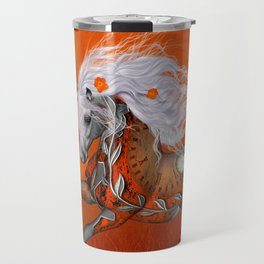 Steampunk, wonderful wild steampunk horse Travel Mug