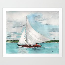 Sail Away watercolor painting of sailboat on turquoise waters Art Print