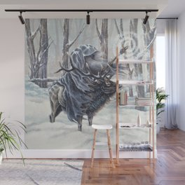 Wizard Riding an Elk in the Snow Wall Mural