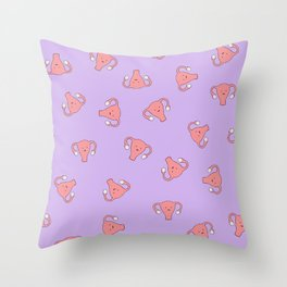 Crazy Happy Uterus in Purple, Large Throw Pillow