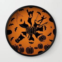 Zombie Black Cat Bat Spider Ghost Pumpkin Wall Clock