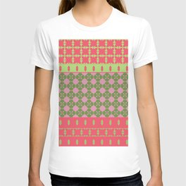 Bohemian Style Patchwork Green Pink T-shirt