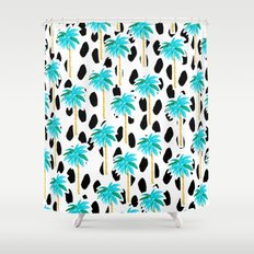 Palm Trees and Dots Shower Curtain