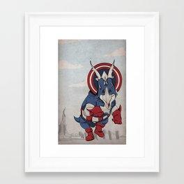 Captain Ameritops - Superhero Dinosaurs Series Framed Art Print