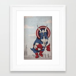 Captain Ameritops - Superhero Dinosaurs Series Framed Art Print